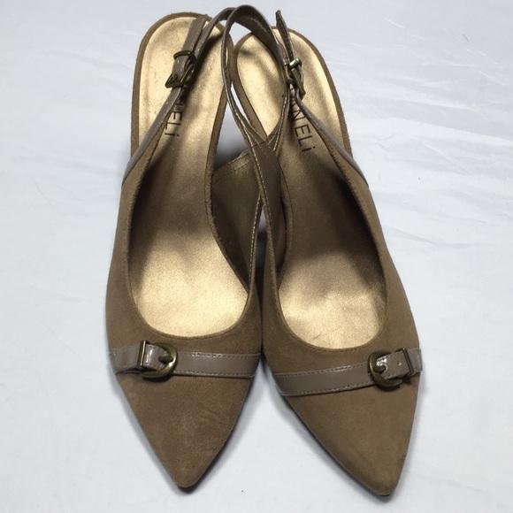 54d155d10230d Vaneli tan suede heels w/ankle strap, size